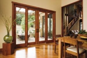 ventanal rústico de madera de roble